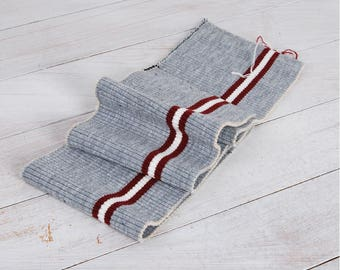 Cuff & Binding Knit Fabric - Red Lines on Gray - 39197-3