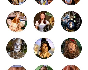 WIZARD oF OZ Craft Circles - Original WIzard - Dorothy Toto Tinman- Instant Download Digital Printable Bottlecaps Cupcakes Collage Sheet