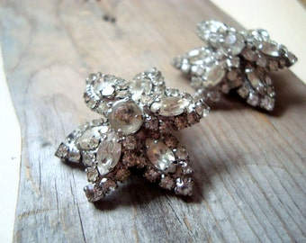 Vintage Flower Rhinestone Clip On Earrings Holiday Jewelry Wedding Jewelry Gifts Under 30 Vintage Style New Years Flower Jewelry
