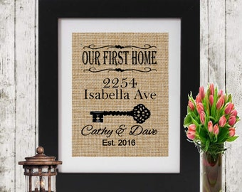 Our First Home Personalized Print - First Home Burlap Print - Address Decor - Personalized Gift - First Home Sign - Housewarming Gift