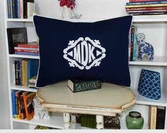 The Lisette Applique Framed Monogrammed Pillow Sham - Standard 20 x 26