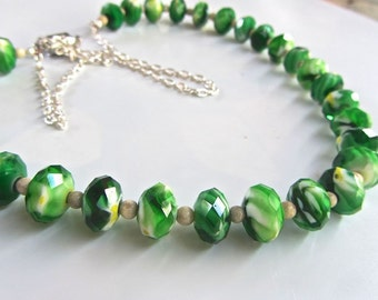 Mark down on SALE - Bright green faceted glass rondelle beaded LONG necklace  earrings bracelet also available
