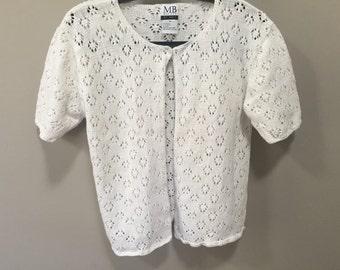 Vintage White Cardigan, Short Sleeve Spring Sweater, One Button Cardigan Sweater, Vintage 90s Open Cardigan Easter Sweater Spring Cardigan M