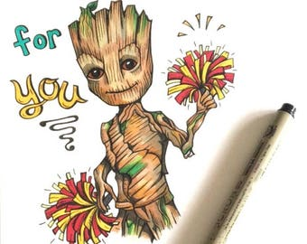 Baby Groot Super Cute and Punny blank Greeting Card/Birthday card/Love Card
