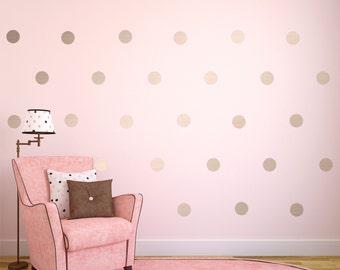 Silver Wall Decals, Silver Polka Dots Wall Decor, Silver Confetti Polka Dots, Polka Dot Wall Decals