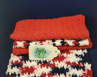 Kitchen dishcloths, patriotic, crochet dish cloths, handmade, housewarming gift, red white and blue,