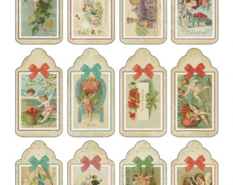 Digital Printable Victorian Style Valentine Gift Tags