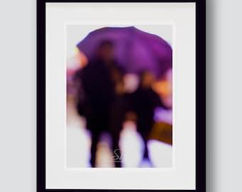 Urban people print, dreamy purple walking people, blurry effect, fine art photography, wall art, A3, A4