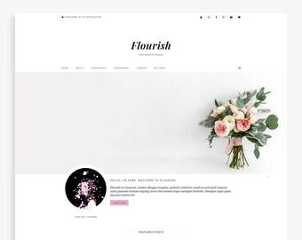 Flourish • Feminine Blogger Template • Small Business Blog Theme • Lifestyle Blog Design