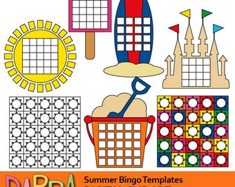 Summer bingo templates clipart commercial use / DIY bingo game template clip art download