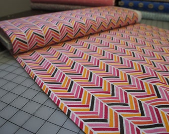 Broken Herring bone in Pink, from Madrona Road collection by Violet Craft by the Yard