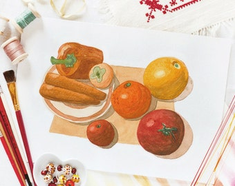 Red vegetables_digital printable_wall art decor_original watercolour print_A4 print_diet watercolor_nutrition illustration_orange veggies