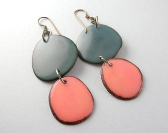 Denim Blue jeans and Tea Rose Tagua Nut Eco Friendly Earrings with Free USA Shipping #taguanut #ecofriendlyjewelry