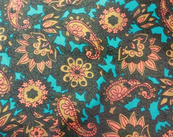 """vintage 1960s paisley oilcloth fabric roll / laminated cotton textile / 148"""" x 34.5"""""""