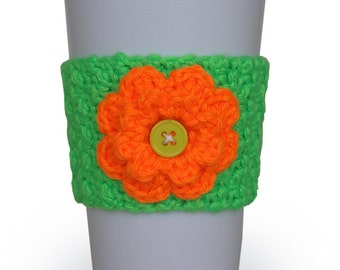 Neon Crocheted Flower Cup Cozy in Neon Orange and Neon Green