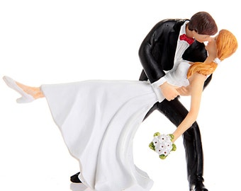 Wedding Cake Topper Bride and Groom Dancing Tango Decoration For Ceremony Personalize Skin Custom Hair Color