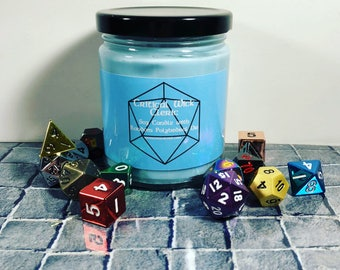 Cleric Scented Tabletop Soy Candle with Random Polyhedral Die Inspired by Dungeons & Dragons and Pathfinder