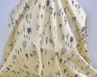 17-328 People & Trees in Grey on Vanilla Cotton - Sold by the Yard