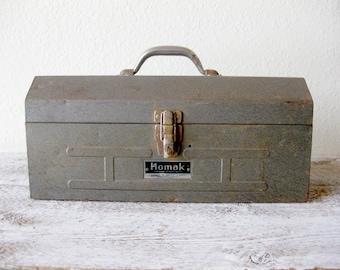 Vintage Homak Grey Metal Utility Tool Box ~ Industrial Tool Case Box ~ Single Red Tray Tool Box ~ Model 819