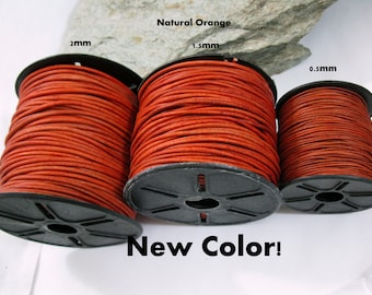 3 Yards LEATHER CORD, Choice of Size and Color, Ready to Ship!