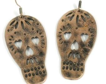 Sale| Sugar Skull Earrings - Sugar Skull Stamped  Cut Out Dangle Earrings - Sugar Skull Jewelry - Native - Day of the Dead - Dia de los Muer