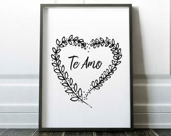 Te amo Printable, I love you art Print, Instant Download, spanish printable, black and white, quote, I love you quote, te amo art print
