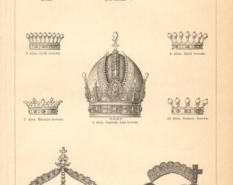1896 Crowns Original Antique Engraving to Frame