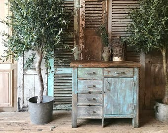 Vintage French rustic industrial style cabinet