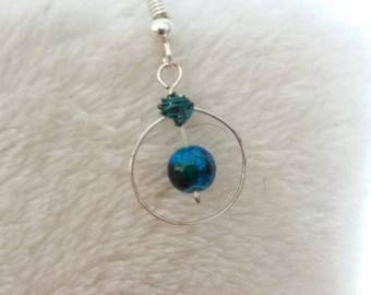 Hoop and blue bead earring