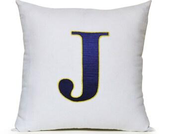 Monogram Pillow Cover, Cotton Pillow Case, Kids Monogram Pillow, Boys Room Pillow, Custom Personalized Gift, Birthday Gift, Nursery Pillows