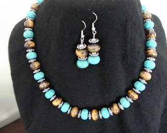 Turquoise and Tiger Eye Diskettes Necklace and Earrings