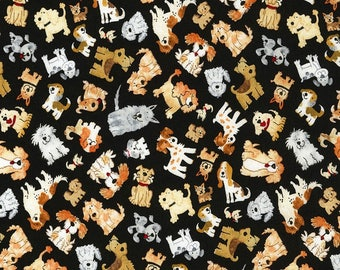 Animal Fabric - Small Dog Toss on Black C5488 - Timeless Treasures YARD