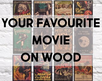 Movie Wood wall art 5 year Anniversary gift for Boyfriend gift for Best Friend gift for Fathers Day gift for husband Panel effect wood art