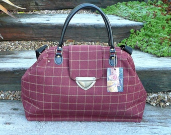 Carpet Bag, Overnight Bag, Mary Poppins Bag, Wool Tweed Bag, Hand Luggage, Cabin Luggage, Carry on Luggage Travel Bag