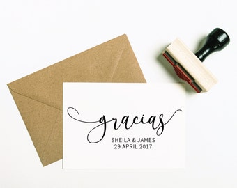 Gracias Rubber Stamp, Gracias Stamp, Gracias Favor Stamp, Wedding Stamp, Spanish Stamp, Thank You Stamp, Thank You Favour (SFAVS303 - S.3)