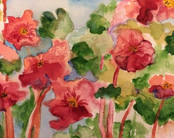 Water color painting, geraniums