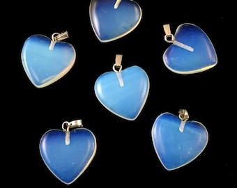 5 Opalite Flat Heart 20mm Loose Beads