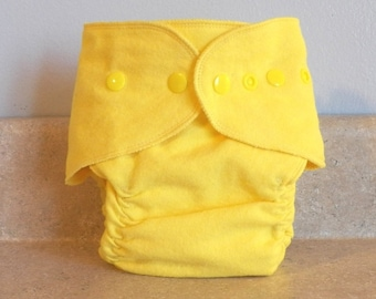 Fitted Preemie Newborn Cloth Diaper- 4 to 9 pounds- Yellow- 16040