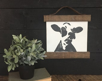 "Cow art | Farmhouse decor | Dairy cow | 11""x12"""