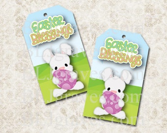 Printable Easter Blessings Bunny Gift Tags Party Favor Treat Bag Tags T012