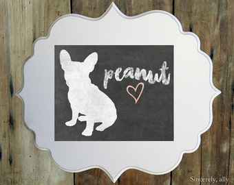 Chalkboard Art Prints  -  Choose a breed and a name - 8x10 Pet Art