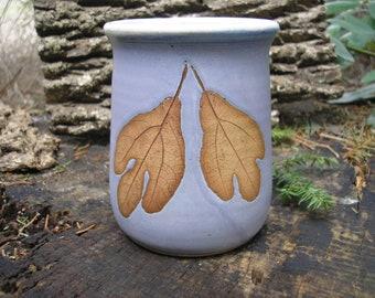 Sassafras Leaf Mug, coffee mug, 16 oz. mug, tea mug, textured mug, handmade mug