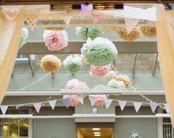 Custom Set of 5 tissue paper pompoms first birthday wedding ceremony reception decorations arch arbor aisle marker baby bridal shower