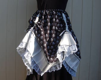 Steampunk Skirt, Pirate Wench in White Skull Cotton