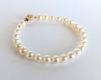 7mm AA Freshwater Pearl & 14K Gold Filled Bracelet White Bridal Pearl Wedding Jewelry for Mother of Bride with Gift Box