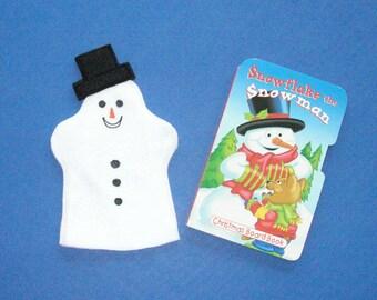 Snowman Hand Puppet and Book Set / Felt puppet and book