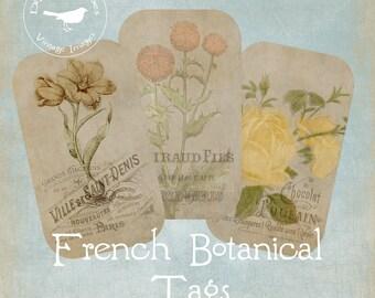 Französischer Vintage Sepia botanische Tags druckbare digitale Download