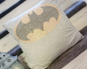Bling rhinetsone batman cushion cover made from a tshirt recycled upcycled eco friendly