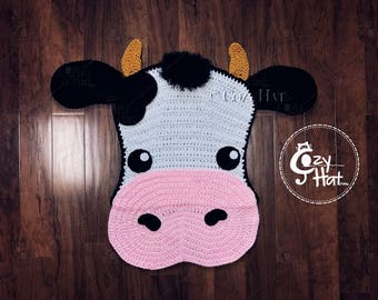 READY TO SHIP! Molly the Cow Rug. Hand Crocheted. Baby Shower Gift. Sale!