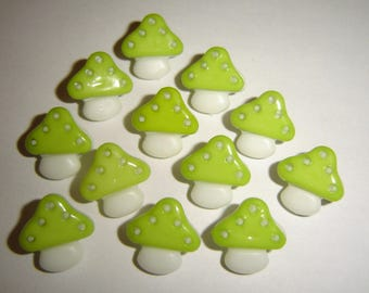 10 white & lime green buttons / / 15 X 15 mm
